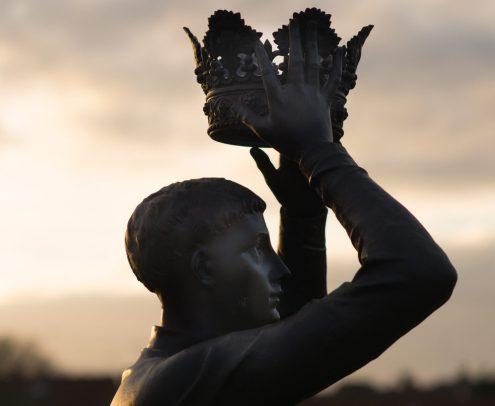 Statue of King Henry V at Stratford Upon Avon, UK.