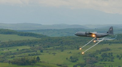 The Pic of the Day: C-130 fires flares over Romania