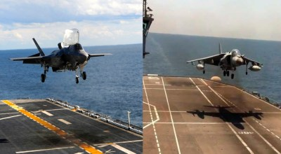 Watch the incredible difference between Harriers and F-35Bs as they conduct vertical landings on carriers