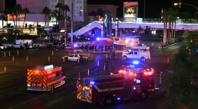 Police and rescue personnel gather at the intersection of Las Vegas Boulevard and Tropicana Avenue after a reported mass shooting at a country music festival on October 2, 2017 in Las Vegas, Nevada. (Photo by Ethan Miller/Getty Images)