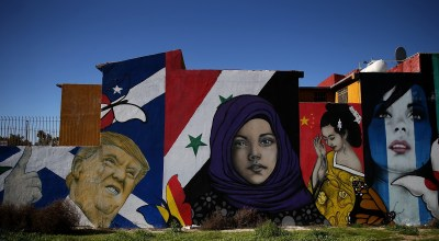 TIJUANA, MEXICO: A mural of U.S. President Donald Trump is displayed on the side of a home on January 27, 2017 in Tijuana. President Trump announced a proposal to impose a 20% tax on all imported goods from Mexico to pay for the border wall between the U.S. and Mexico. Mexican President Enrique Pena Nieto cancelled a planned meeting with President Trump over who would pay for Trump's campaign promise to build a border wall. (Photo by Justin Sullivan/Getty Images)