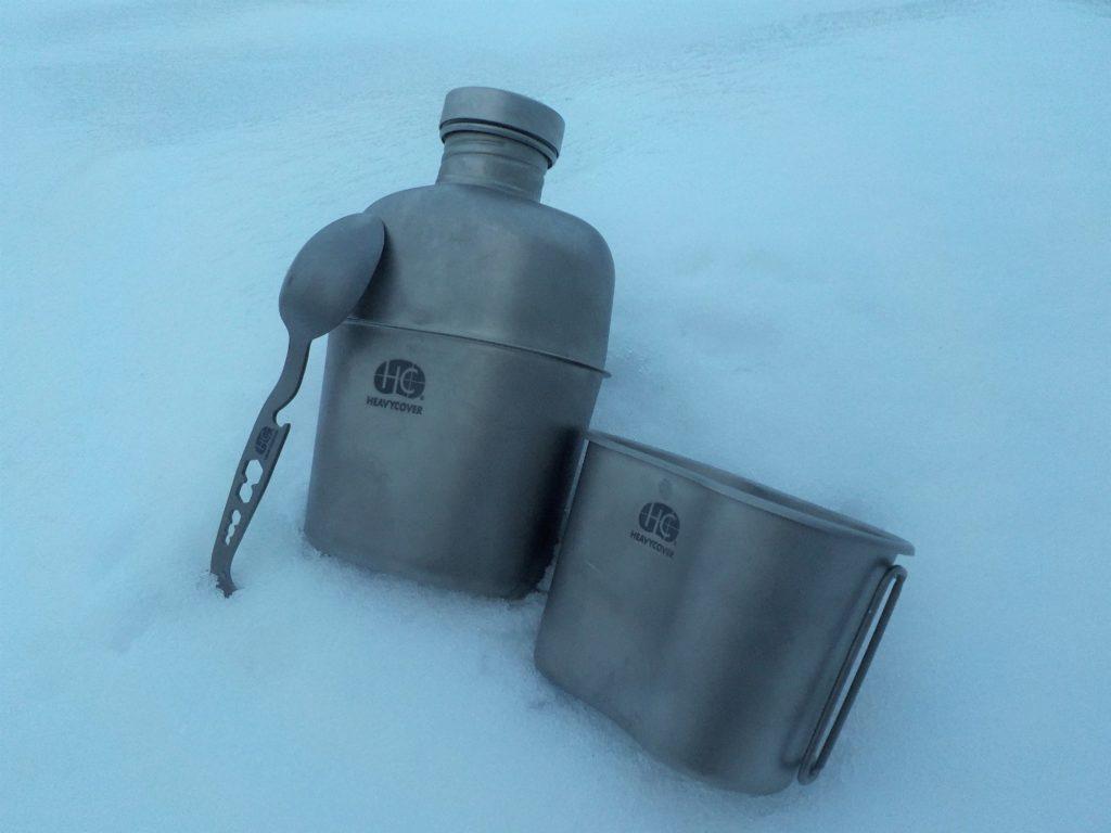 Heavy Cover US GI style titanium canteen mess kit