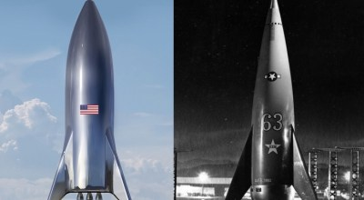 "(Left) Artist's illustration of SpaceX's forthcoming Starship test vehicle (Right) Rocket from 1953's ""Project Moon"""