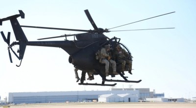 Soldiers assigned to 10th Special Forces Group (Airborne), conduct aviation insertion training using a AH-6 Little Bird helicopter, on Fort Carson, Colorado March 13, 2018. The training builds the Soldiers combat skill set and confidence. (U.S. Army photo)