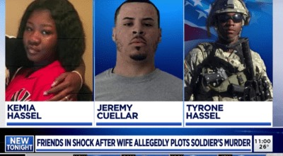 Kemia Hassel, 22, and her lover Jeremy Cuellar, 24, plotted and murdered Kemia's husband, U.S. Army Sergeant Tyrone Hassel III, in an attempt to collect $500,000 in compensatory funding from the Army. Photo courtesy of WOOD TV8.