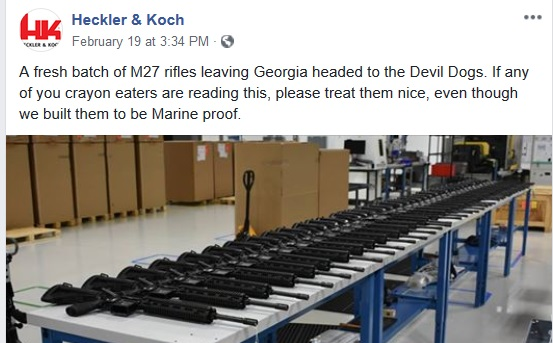 Arms Manufacturer Heckler Koch Call Marines Crayon Eaters In