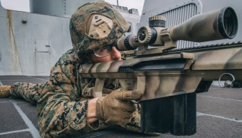The Pic of the Day: Scout sniper sights in on a .50-caliber Special Applications Scoped Rifle
