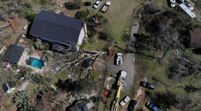 A drone's-eye view shows damage that was caused by a tornado March 5, 2019, in Smiths Station, Alabama. (Photo by Alex Wong/Getty Images)
