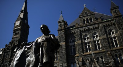 The campus of Georgetown University is shown March 12, 2019 in Washington, D.C. Georgetown and several other schools including Yale, Stanford, the University of Texas, University of Southern California and UCLA were named in an FBI investigation targeting 50 people as part of a bribery scheme to accept students with lower test scores into some of the leading universities across the United States. (Photo by Win McNamee/Getty Images)