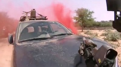 Members of ODA 3212 shoot and move during the Niger ambush. (Facebook photo)