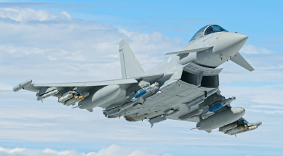 A two-seat Typhoon T3 in flight showing off its longer canopy. (Royal Air Force).