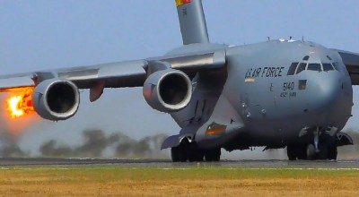 Watch: Video shows bird being sucked into C-17's engine as it tries to take off
