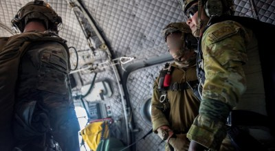 U.S. and Australian special operations forces (SOF) prepare to conduct a high-altitude low-opening (HALO) parachute jump from a Royal Australian Air Force (RAAF) C-27J Spartan of the 35 Squadron during Talisman Sabre, July 17, 2019. Talisman Sabre is a bilateral exercise that tests the two forces combat training, readiness and interoperability. (U.S. Marine Corps photos by Lance Cpl. Nicole Rogge).