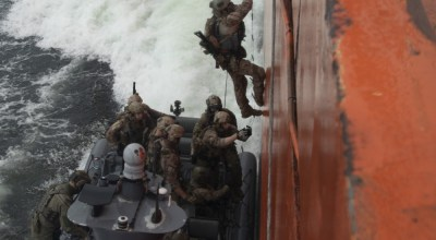 U.S. and Danish maritime special operations forces board a ship in the Baltic Sea during exercise Trojan Footprint 18 June 4, 2018. Trojan Footprint 18 is a U.S. Special Operations Command Europe-led exercise over land, sea and air that rapidly deployed 2,000 NATO and partner nation Special Operations Forces from 13 nations to the Baltic region. (DVIDS).