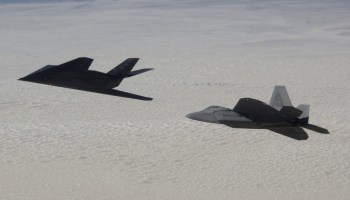 Stealth battle: Legendary F-117 'Stealth Fighter' spotted squaring off against F-22s in mock dogfight over Nevada