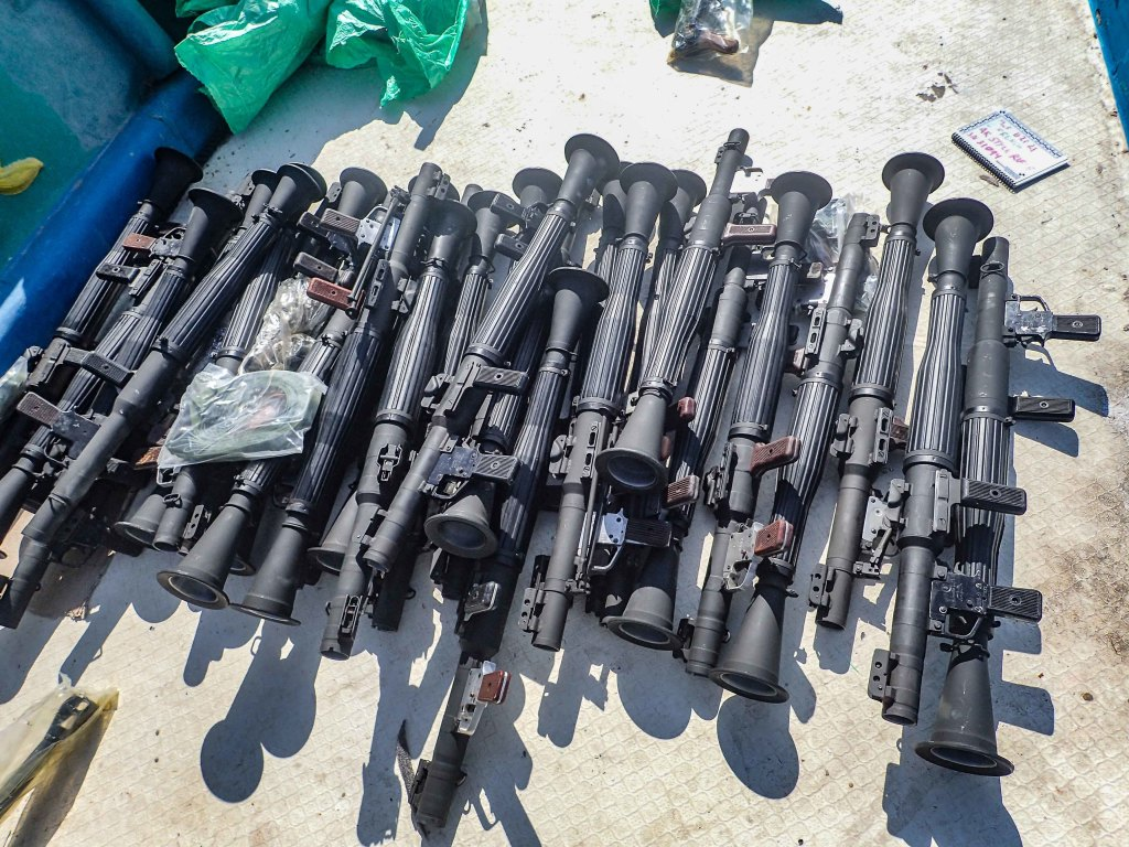 Russian RPGs in the weapons cache seized off the Coast of Somalia