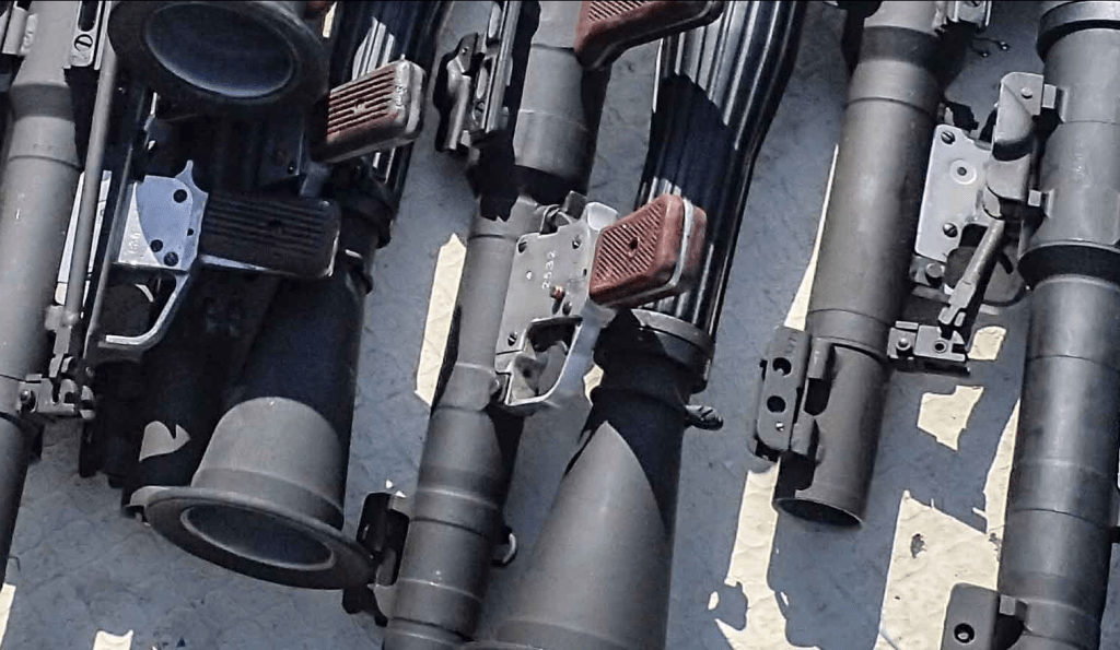 Russian Made RPG-7s seized in cache of the Somali coast.