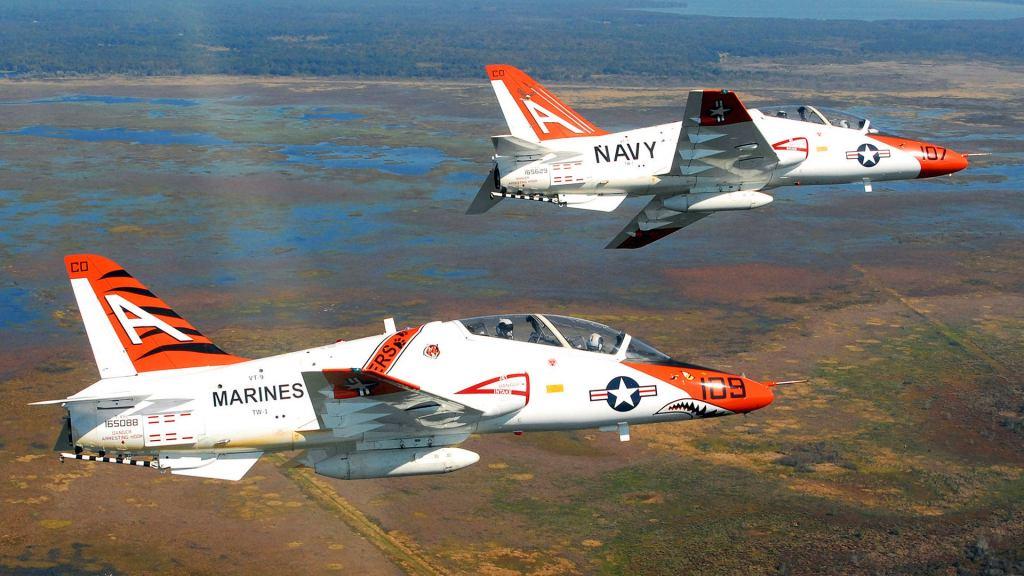 U.S. Navy T-45 Goshawks are the training aircraft for all naval aviators.