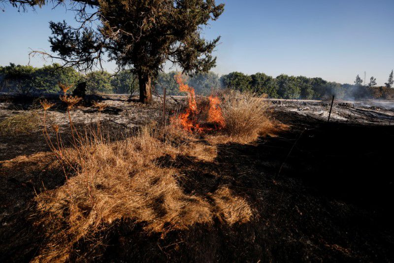 Israeli firefighters responded to more than 20 fires that were started by incendiary devices dropped by balloons.