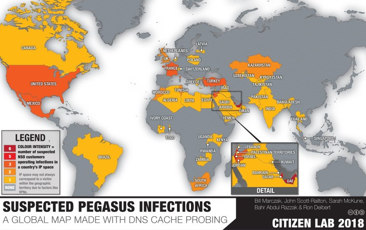 Suspected infections by NSO Group's Pegasus spyware.