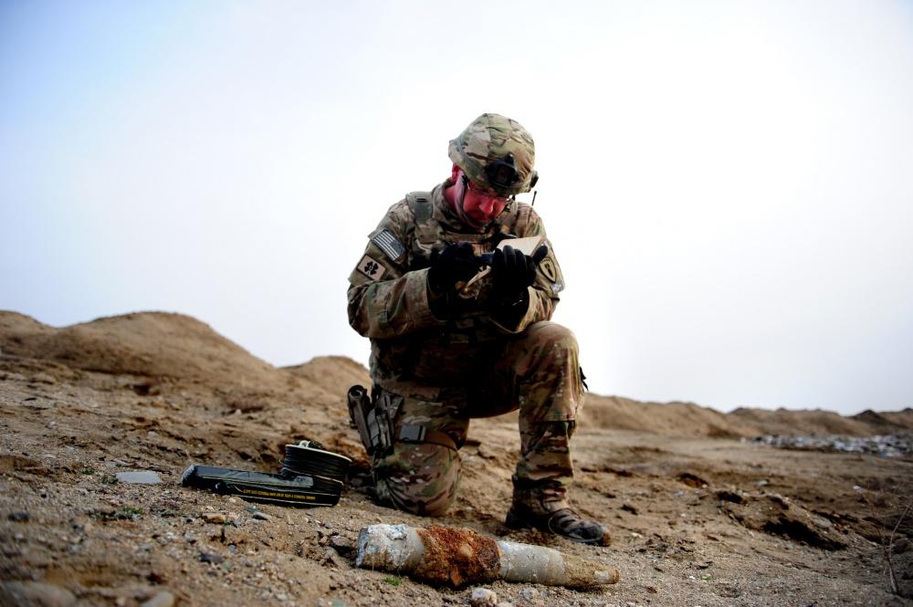 An Air Force Explosive Ordnance Disposal Technician