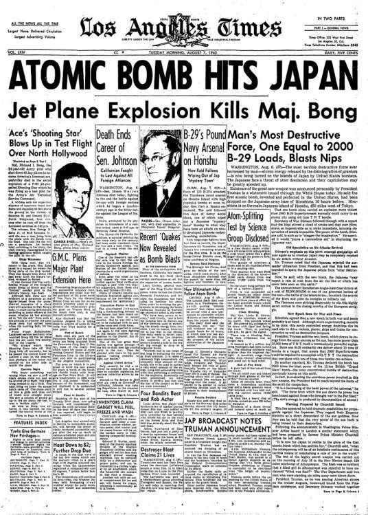 LA Times cover atomic bomb Richard Bong