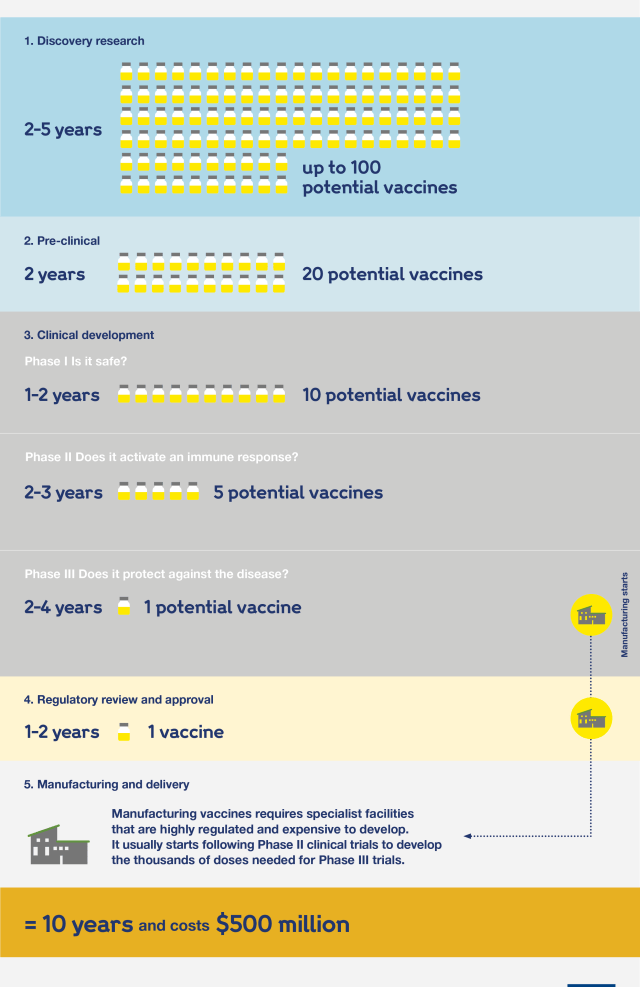 Graphic showing the five stages of vaccine development.