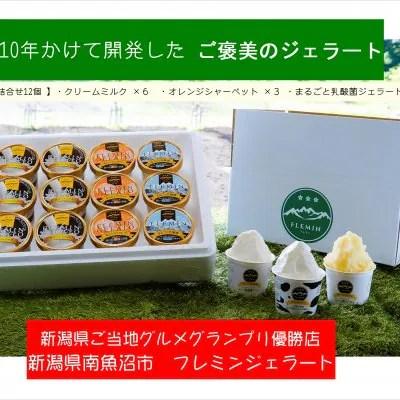 新潟県/フレミンジェラート 魚沼のアイスクリームカップ詰合せ(ミルクアイス6個・オレンジシャーベット3個・乳酸菌ジェラート3個)