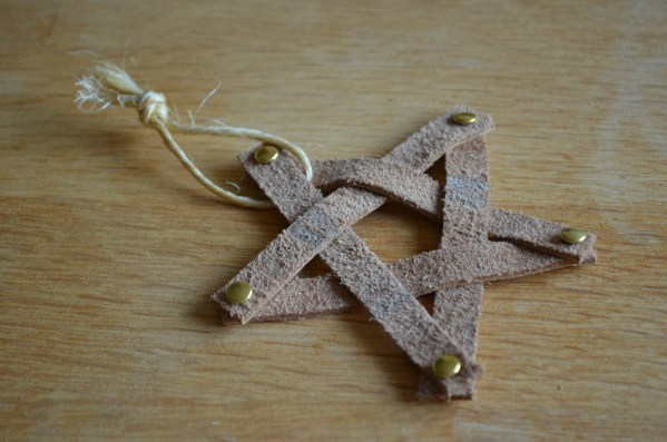 Gold leather star Christmas decoration