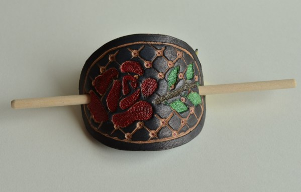 Inverted Rose tooled leather hair slide