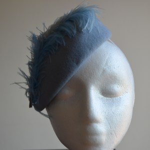 Baby blue hat, with ostrich feather and diamante detail