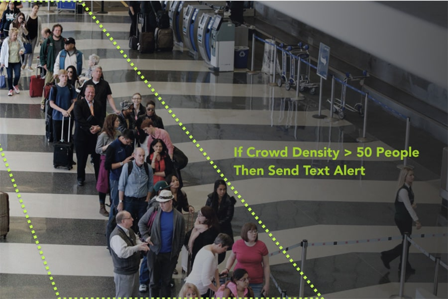 A photo of people in line at an airport