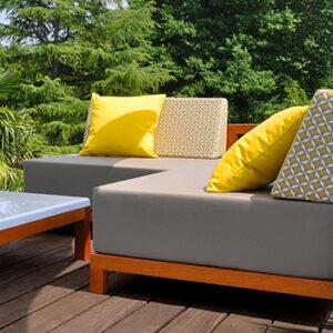 Mobilier de jardin Art'Mely jaune et gris, fabriqué en France