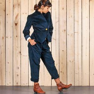 Vêtements ensemble costume femme bleu nuit Atelier Tiket, fabriqué en France