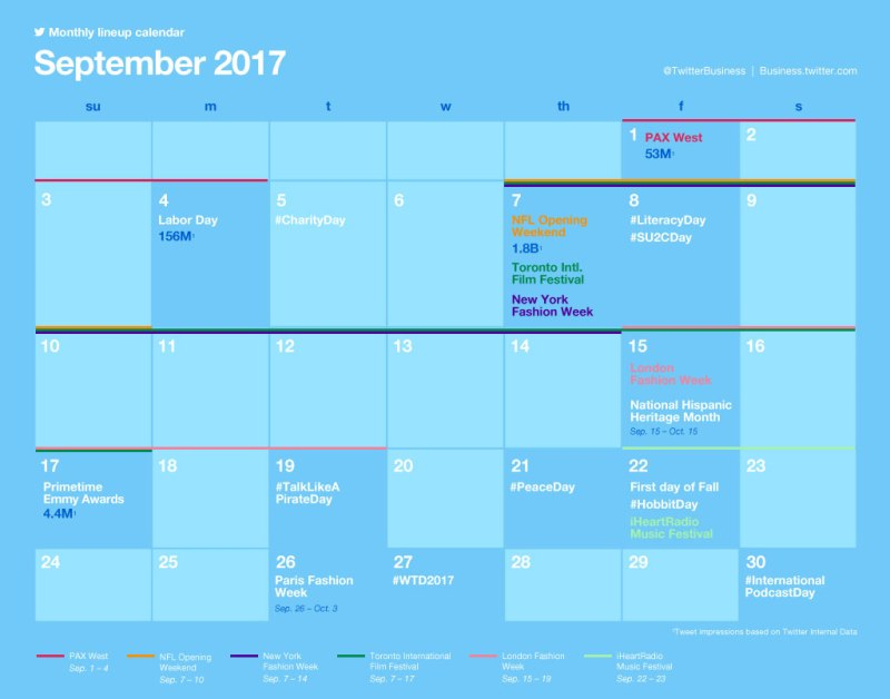 Twitter Releases Major Events Calendar for September to Help with Strategic Planning | Social Media Today