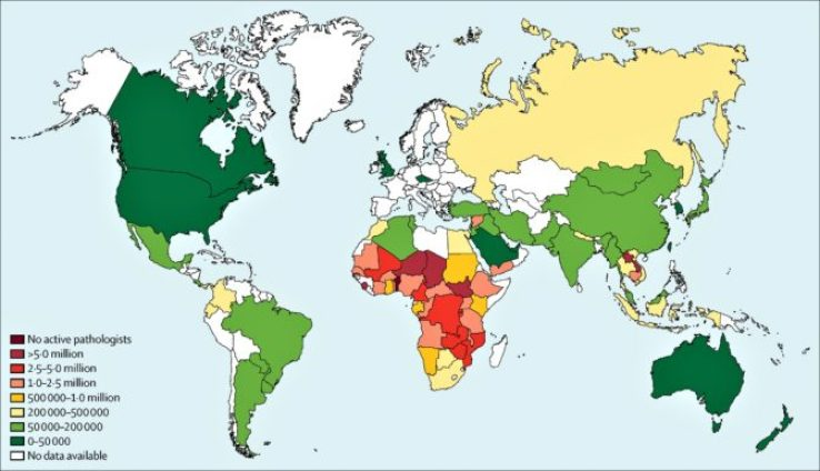 Global workforce capacity in pathology and laboratory medicine. Image reprinted from The Lancet.