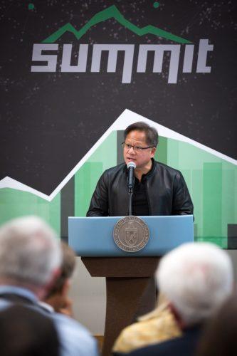 NVIDIA CEO Jensen Huang speaking at Oak Ridge National Lab.