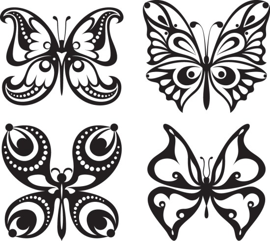Set Of Tattoo Butterfly Vector Free Vector