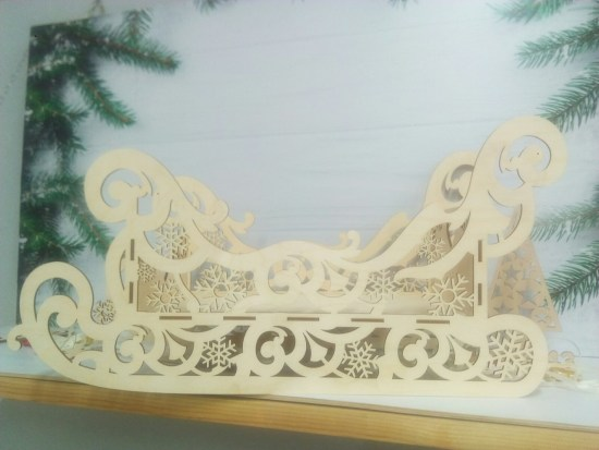 Wooden Decorative Sleigh Laser Cutting Template Free Vector