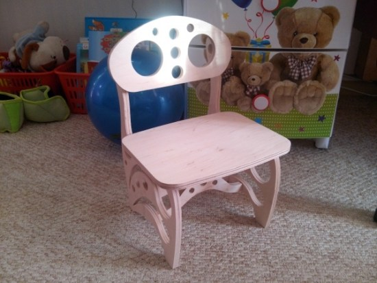 Laser Cut Wooden Kids Chair Free Vector