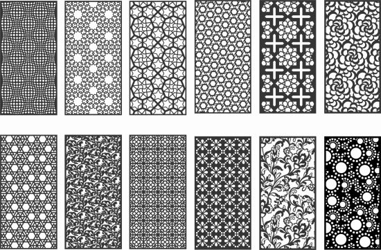 12 Pattern vectors dxf file for cnc