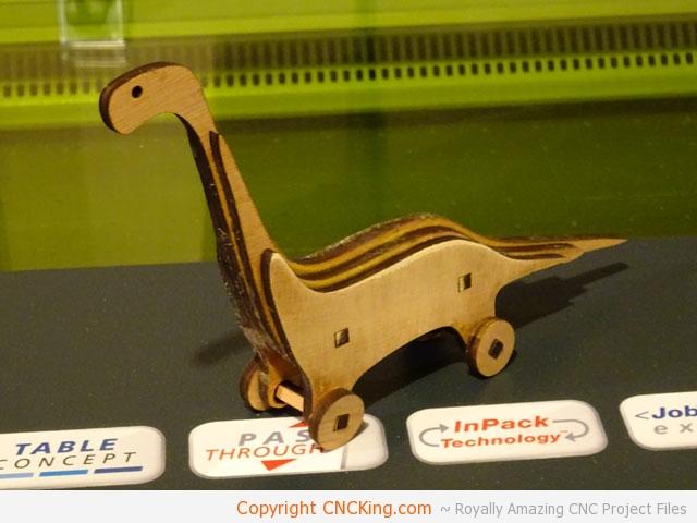 CO2 Laser Cutting a Wood Apatosaurus (Brontosaur) - CNCKing com