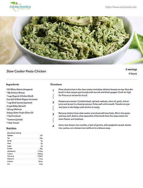 Easy Slow Cooker & One Pan Recipe Collection Slow Cooker Pesto Chicken