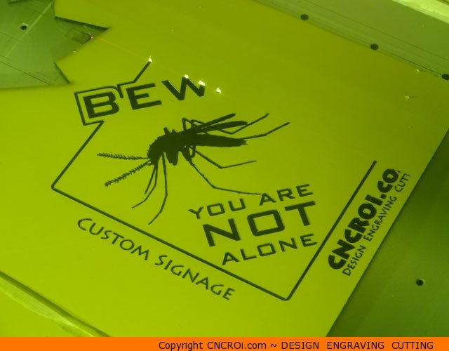 laminate-sign-1 Custom Laser Engraved & Cut Signage Beware: You are NOT alone in Yellow/Black Laminate