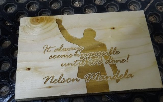 "plywood-sign-mandela-x9 Custom Laser Engraved Plywood Signage ""It always seems impossible until it's done"" by Nelson Mandela"