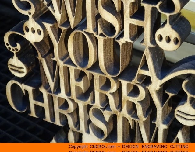 text-ornament-stand-1 Highly Detailed Custom Christmas Ornament: CNC Laser Cutting and Sand Blasting Pine
