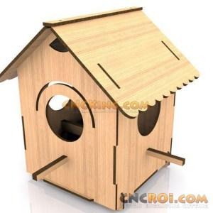 cnc-laser-bird-house-d Birdhouse D