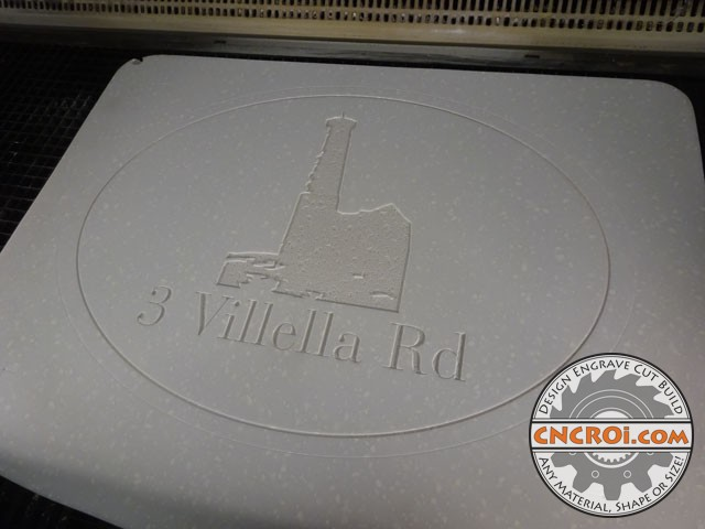 corian-house-number-1 Double Sided Corian Sign: CNC Laser Engraved... customer will finish
