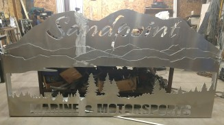 64 x 120 aluminum sign layered in mountains