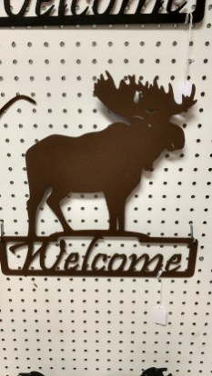moose welcome 15 x 15 painted brown